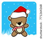 cute teddy bear with santa... | Shutterstock .eps vector #771264268