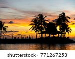 Beautiful sunset in Tanjung Aru Kota Kinabalu beach in Sabah Borneo Malaysia.