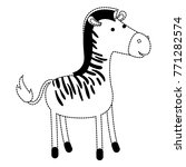 zebra cartoon in black dotted... | Shutterstock .eps vector #771282574