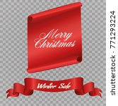 realistic red paper banners set.... | Shutterstock .eps vector #771293224