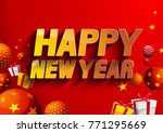 happy new year.red background.   Shutterstock .eps vector #771295669