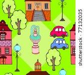 cute cartoon city. seamless...   Shutterstock .eps vector #77132035