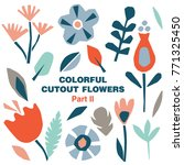 cutout colorful flowers and... | Shutterstock .eps vector #771325450