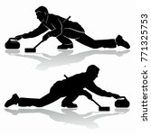 isolated silhouette of curling... | Shutterstock .eps vector #771325753