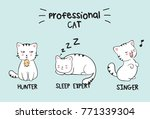 set of three kawaii white cats... | Shutterstock .eps vector #771339304