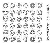 set of detailed outline emoji....   Shutterstock .eps vector #771344026