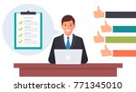 businessman working on the... | Shutterstock .eps vector #771345010