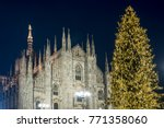 christmas tree in front of...   Shutterstock . vector #771358060