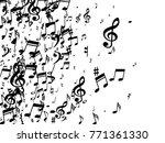 black musical notes flying... | Shutterstock .eps vector #771361330