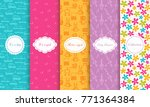 set of cute bright seamless... | Shutterstock .eps vector #771364384