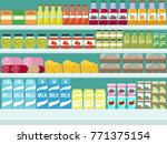 store shelves with groceries ... | Shutterstock .eps vector #771375154
