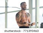 muscular fitness bodybuilder...   Shutterstock . vector #771393463
