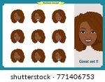 set of black woman expression... | Shutterstock .eps vector #771406753