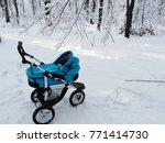 blue baby pram in the winter... | Shutterstock . vector #771414730