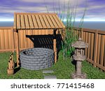 bamboo fence with pond 3d... | Shutterstock . vector #771415468