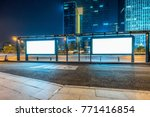 blank billboard on bus stop at... | Shutterstock . vector #771416854