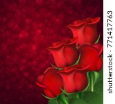 red roses on hearts bokeh... | Shutterstock . vector #771417763