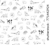 Stock photo pets animals cute cartoon doodle seamless pattern 771442924