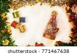 santa claus christmas tree drum ... | Shutterstock . vector #771467638