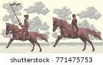 riders on horseback. design set.... | Shutterstock .eps vector #771475753