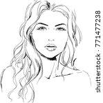 watercolor portrait of fashion... | Shutterstock .eps vector #771477238