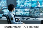 in the security control room... | Shutterstock . vector #771480580