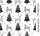 deer and christmas tree... | Shutterstock .eps vector #771482710