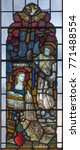 Small photo of LONDON, GREAT BRITAIN - SEPTEMBER 19, 2017: The Annunciation stained glass in St Mary Abbot's church on Kensington High Street.