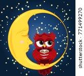 Cute Cartoon Owl Coquettish Re...