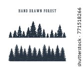 hand drawn pine forest textured ... | Shutterstock .eps vector #771518266
