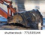 Orange Excavator Digger Bucket...