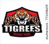 tiger mascot for muay thai club ... | Shutterstock .eps vector #771548659