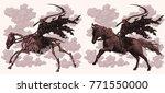 death on horseback. design set. ... | Shutterstock .eps vector #771550000