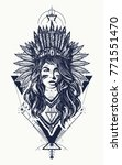 tribal indian woman tattoo and... | Shutterstock .eps vector #771551470
