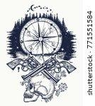 skull  guns and compass crime... | Shutterstock .eps vector #771551584