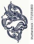 unicorn and dragon tattoo art....   Shutterstock .eps vector #771551803