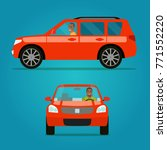 red car two angle set. car with ... | Shutterstock .eps vector #771552220