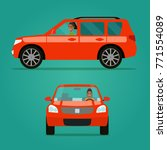 red car two angle set. car with ...   Shutterstock .eps vector #771554089