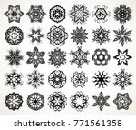 set of ornate lacy doodle... | Shutterstock . vector #771561358
