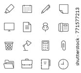 Stock vector office accessories and tools icons set linear design line with editable stroke 771577213
