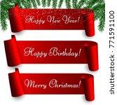 set of seasonal red paper... | Shutterstock .eps vector #771591100