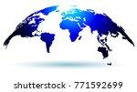 trendy globe map in deep blue... | Shutterstock .eps vector #771592699