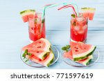 watermelon summer cocktail with ... | Shutterstock . vector #771597619
