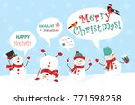 winter snowman set. funny... | Shutterstock .eps vector #771598258