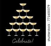 stacked champagne glasses... | Shutterstock .eps vector #771600379
