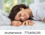 mom's love newborn. | Shutterstock . vector #771606130