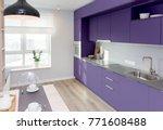 kitchen interior in light... | Shutterstock . vector #771608488