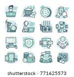 16 flat line vector icons for...   Shutterstock .eps vector #771625573