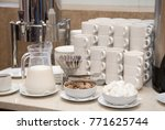 cups for coffee and tea at the...   Shutterstock . vector #771625744