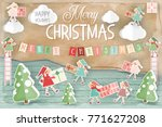 merry christmas greeting card   ... | Shutterstock .eps vector #771627208